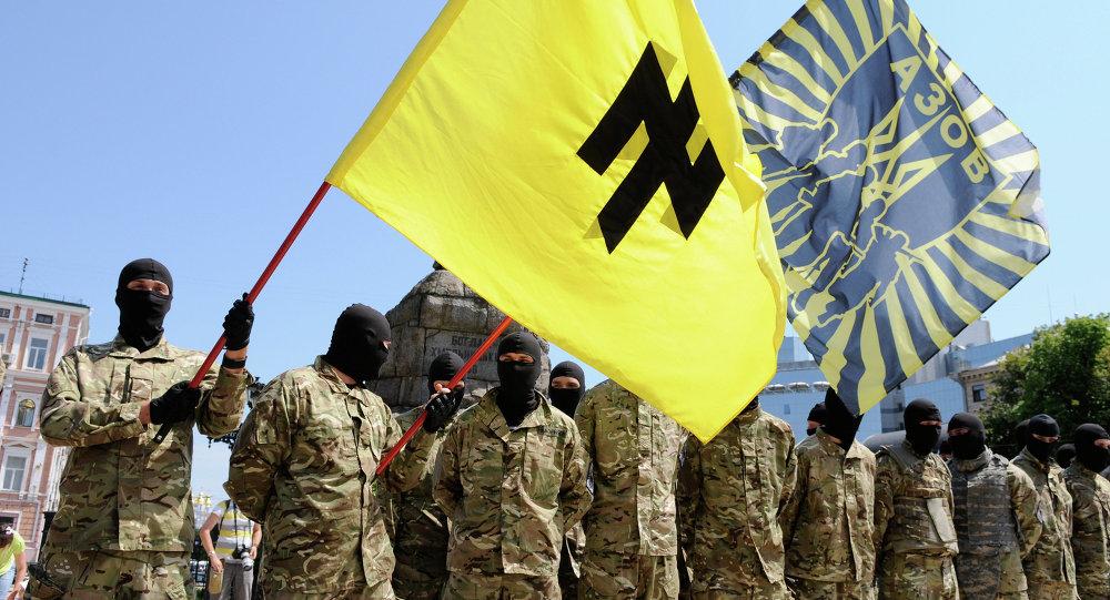 Fighters of the Azov Battalion in Kiev