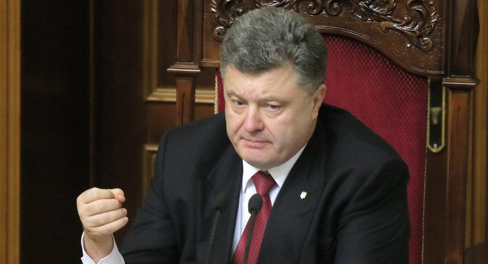 Ukraine's President Petro Poroshenko speaks during parliament session in Kiev, Ukraine, Tuesday, Dec. 2, 2014
