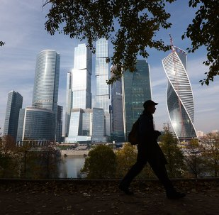 A passer-by near the Moscow International Business Center Moscow-City in Moscow