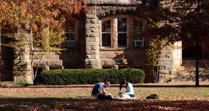 Students studying in the quad