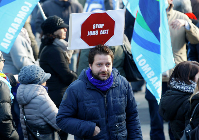 Demonstrators protest in Milan