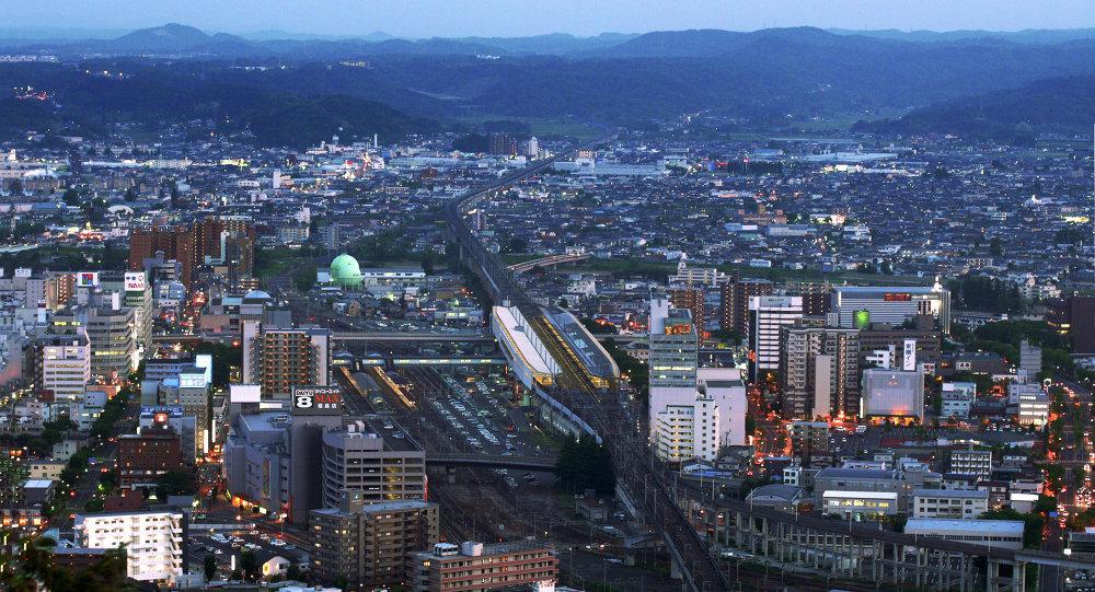 Fukushima Station and Shinkansen Tracks at Twilight