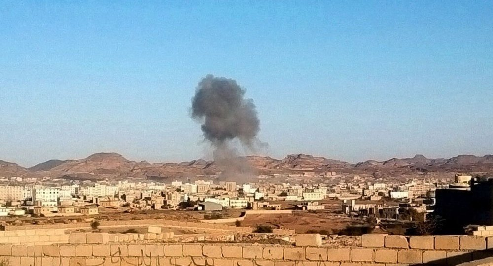 Smoke rises from the site of a car bomb explosion in Radda town