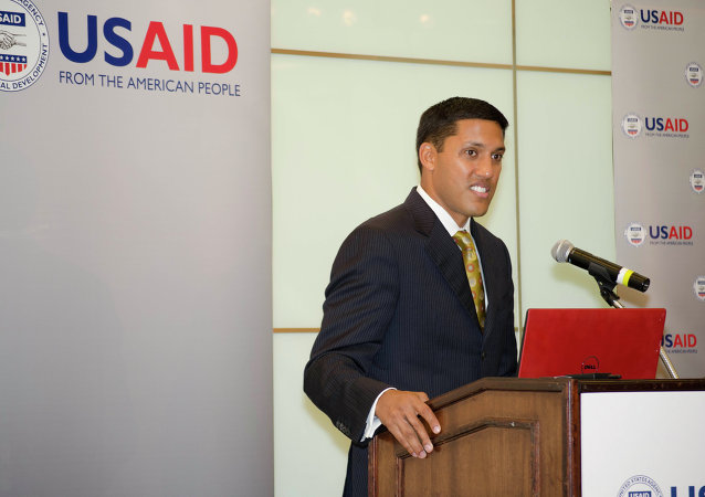Administrator Raj Shah speaks before over 80 USAID alliance builders from 25 Missions and Washington, DC, at the 3rd Alliance Builders Forum.