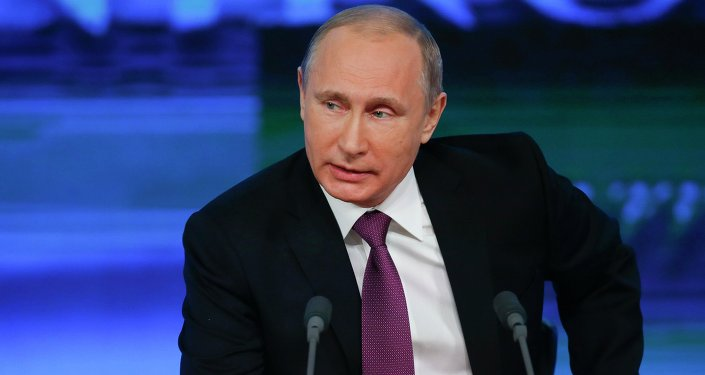 Russian President Vladimir Putin speaks during his annual end-of-year news conference in Moscow