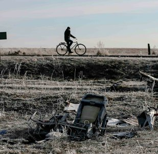 A man rides his bicycle past the wreckage of MH17, a Malaysia Airlines Boeing 777 plane