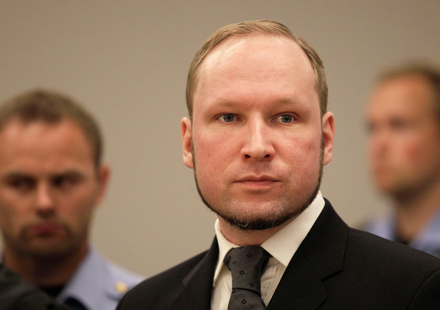 Anders Behring Breivik listens to the judge in the courtroom, Friday, Aug. 24, 2012, in Oslo, Norway