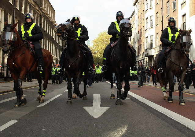 Mounted police lead the procession UK