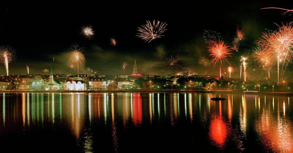 New Year's Eve fireworks in Reykjavik, Iceland