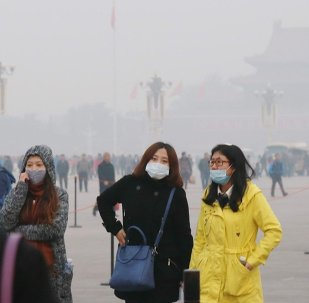 Tourists wearing face masks visit the Tiananmen Square in heavy smog in Beijing, China