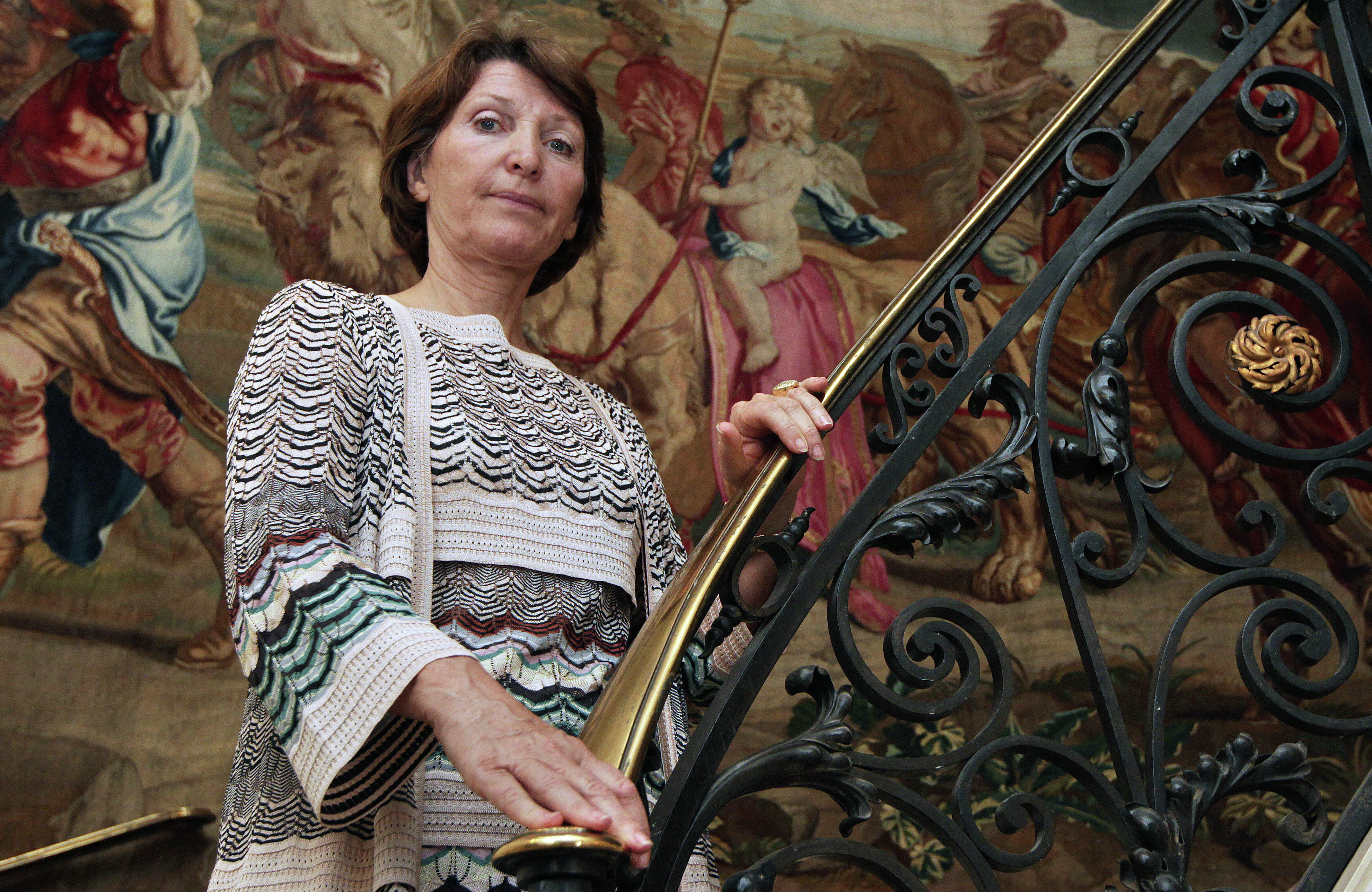 The granddaughter of Spanish painter Pablo Picasso, Marina Picasso, poses in her house Pavillon de Flore