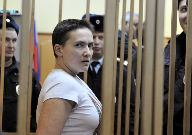 Ukrainian pilot Nadezhda Savchenko, accused of complicity in the murder of Russian journalists