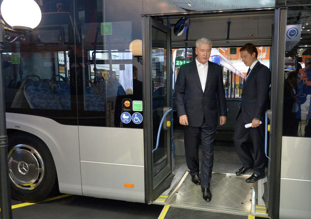 Moscow Mayor Sergei Sobyanin at the ExpoCityTrans 2014 exhibition. Archive photo