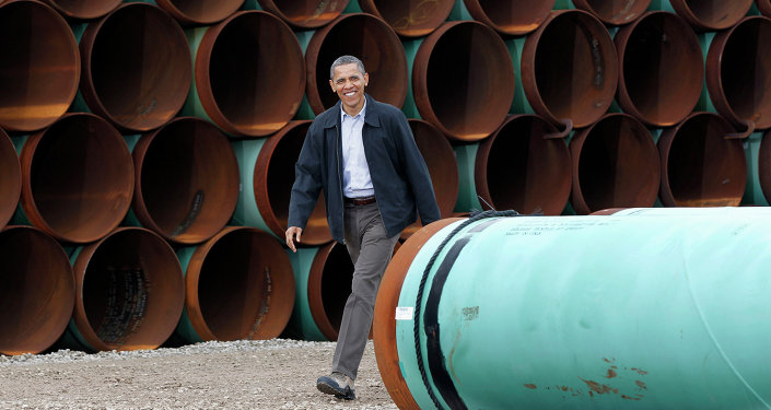 President Barack Obama arriving at the TransCanada Stillwater Pipe Yard in Cushing