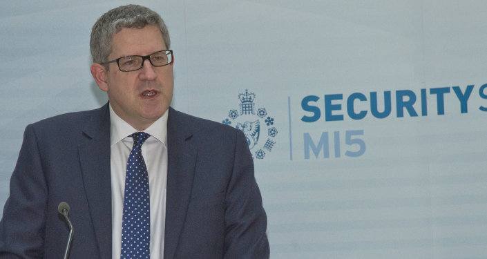 This image made available on Thursday Jan. 8. 2015 by Britain's MI5 Security Service shows an undated image of Andrew Parker the Director General of Britain's domestic security service MI5