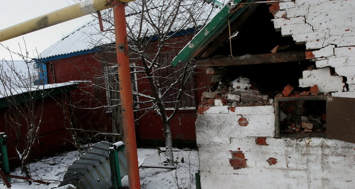A private house in Petrovsky District of Donetsk damaged by Ukrainian army shelling
