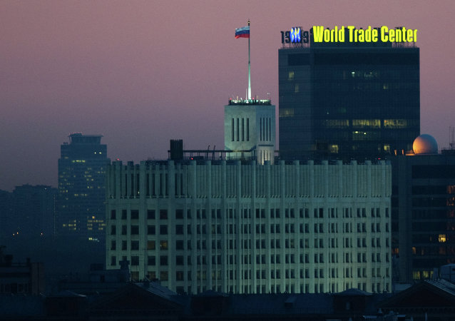 A view of the House of Government of the Russian Federation and the World Trade Center in Krasnaya Presnya.