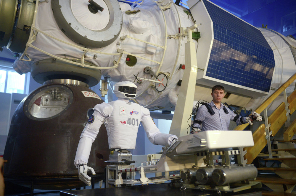 Russian cosmonaut robot displayed at Cosmonauts Training Center