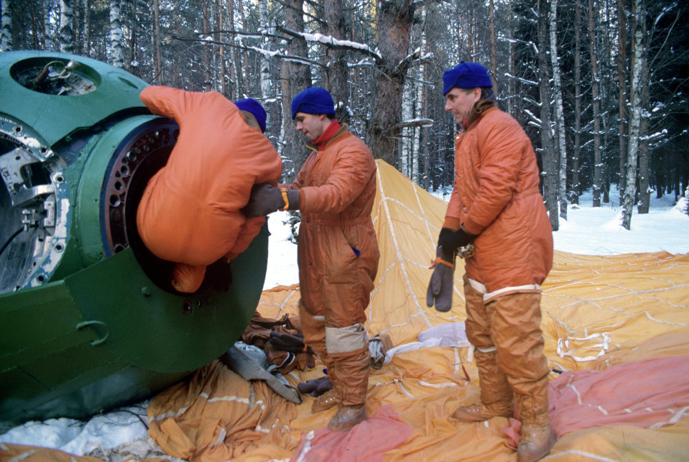 Cosmonauts emergency landing survival training in winter conditions in marshlands