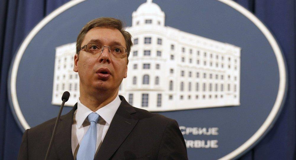 Serbian Prime Minister Aleksandar Vucic speaks during a press conference