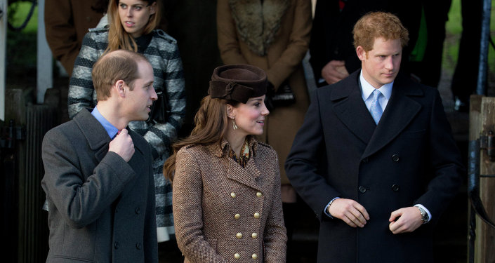 Britain's Prince William, left, his wife Kate Duchess of Cambridge and brother Prince Harry leave after attending the British royal family's traditional Christmas Day church service