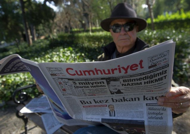 A man reads Cumhuriyet, the leading pro-secular Turkish newspaper