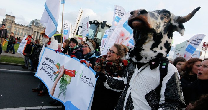 Demonstrators hold banners as they take part in a German farmers and consumer rights activists march to protest against the Transatlantic Trade and Investment Partnership (TTIP), mass husbandry and genetic engineering in Berlin, January 17, 2015