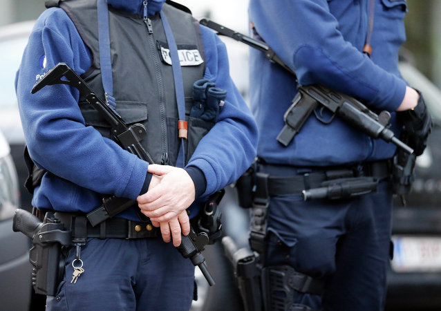 Armed Belgian police officers