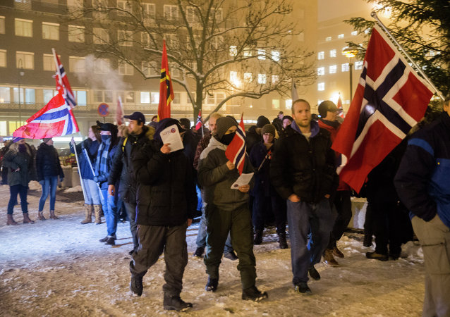 Norwegian sympathizers of the German right-wing populist movement PEGIDA (Patriotic Europeans Against the Islamisation of the Occident) carrying Norwegian flags march in Oslo