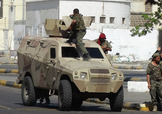 Yemeni security forces are deployed on the street in the southern city of Aden