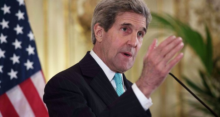 U.S. Secretary of State John Kerry speaks to the media at the U.S. Ambassador's residence in Paris November 5, 2014