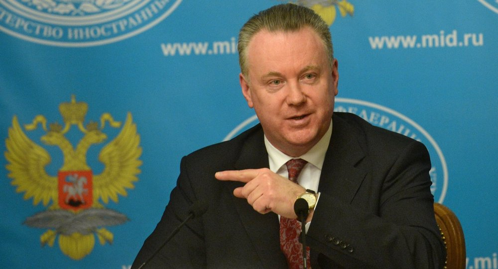 Russian Foreign Ministry spokesman Alexander Lukashevich during a news briefing in Moscow