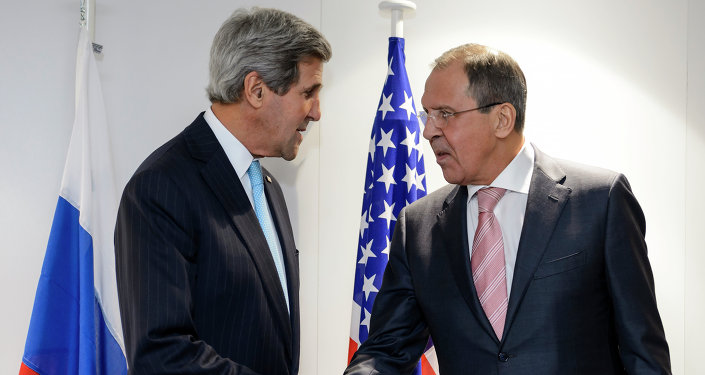 US Secretary of State John Kerry and Russian Foreign Minister Sergei Lavrov shake hands during a bilateral on the side line of an Organization for Security and Cooperation in Europe (OSCE) ministerial meeting on December 4, 2014.