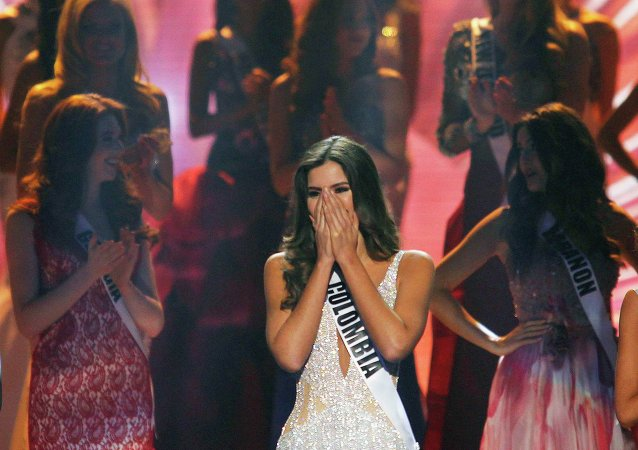 Miss Colombia Paulina Vega reacts just before being crowned the winner at the 63rd Annual Miss Universe Pageant in Miami, Florida, January 25, 2015