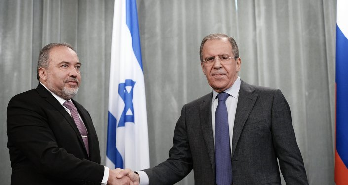 Russian Foreign Minister Sergei Lavrov meets with Avigdor Lieberman