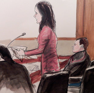 Evgeny Buryakov, right, listens as is attorney Sabrina Shroff, standing, argues for his bail, Monday Jan. 26, 2015