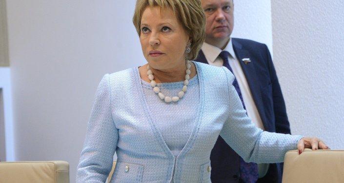Federation Council Chair Valentina Matviyenko at a Federation Council meeting.