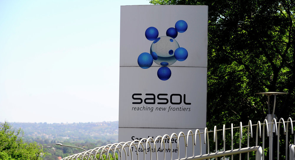 Logo of Sasol at its headquarters in Johannesburg
