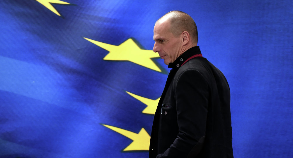New Greek Finance Minister Yanis Varoufakis attends a handover ceremony in Athens on January 28, 2015