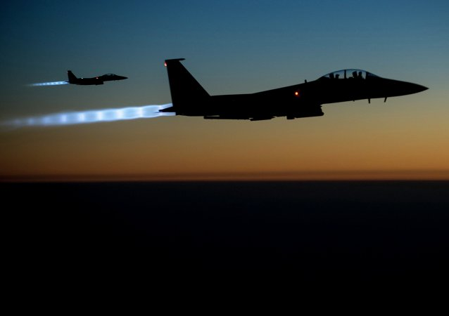 US Air Force F-15E Strike Eagles conduct airstrikes in Syria and Iraq.