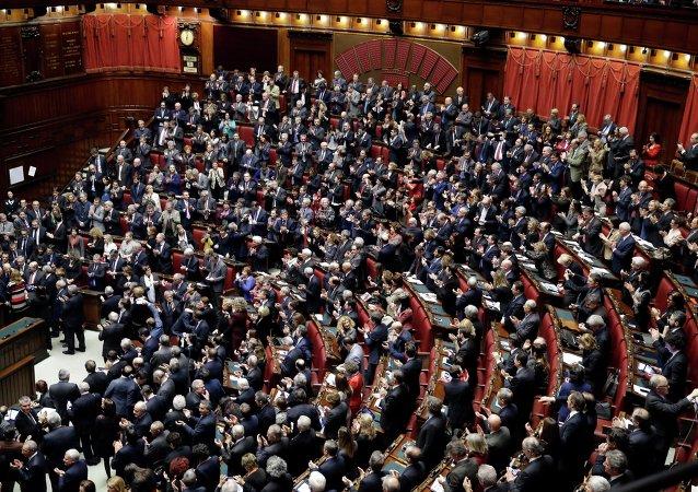 Lawmakers applaud the election of Italy's new President Sergio Mattarella,