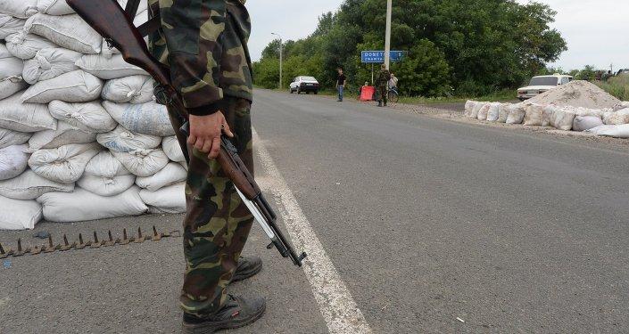 Militia checkpoint in Debaltsevo, Donetsk Region
