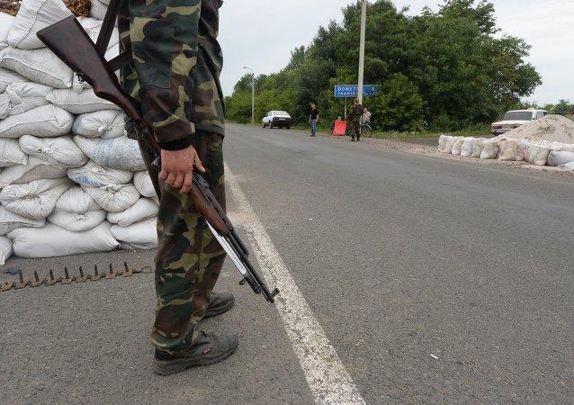 Militia checkpoint in Debaltseve, Donetsk Region