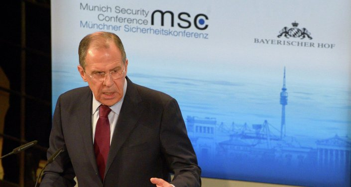 Russian Foreign Minister Sergei Lavrov speaks at the 50th Munich conference on security policy