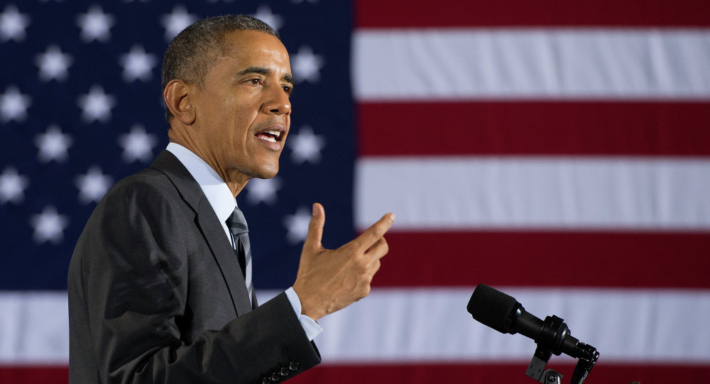 US President Barack Obama speaks at the Department of Homeland Security about the administration's fiscal year 2016 budget request released earlier today February 2, 2015 in Washington, DC