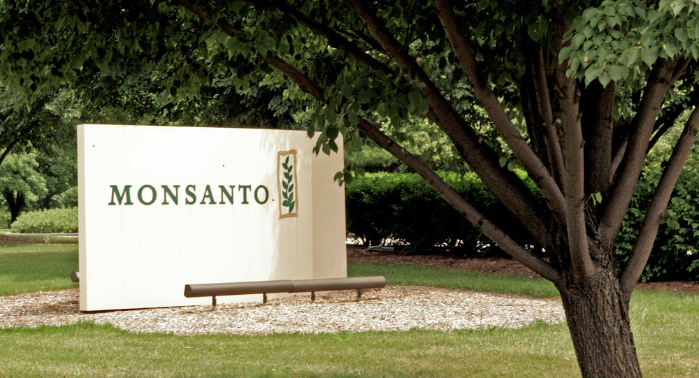 A sign at the Monsanto Co. headquarters located in St. Louis, Missouri.