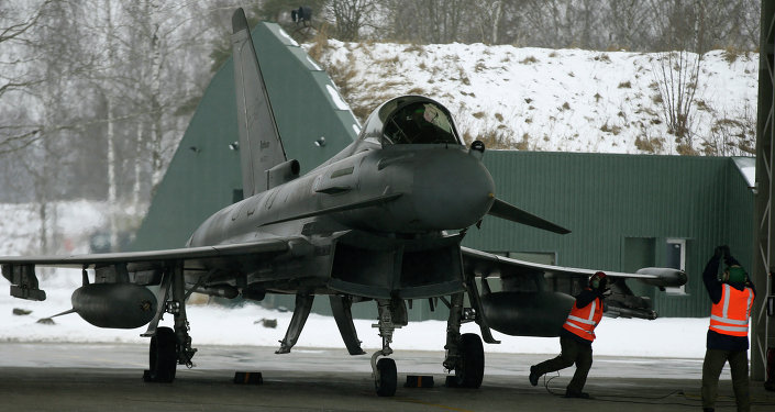 Italy's Eurofighter Typhoon jet fighter prepares for take off during NATO's Baltic Air Policing Mission at the Siauliai airbase some 240 kms (150 miles) east of the capital Vilnius, Lithuania, Thursday, Jan. 29, 2015