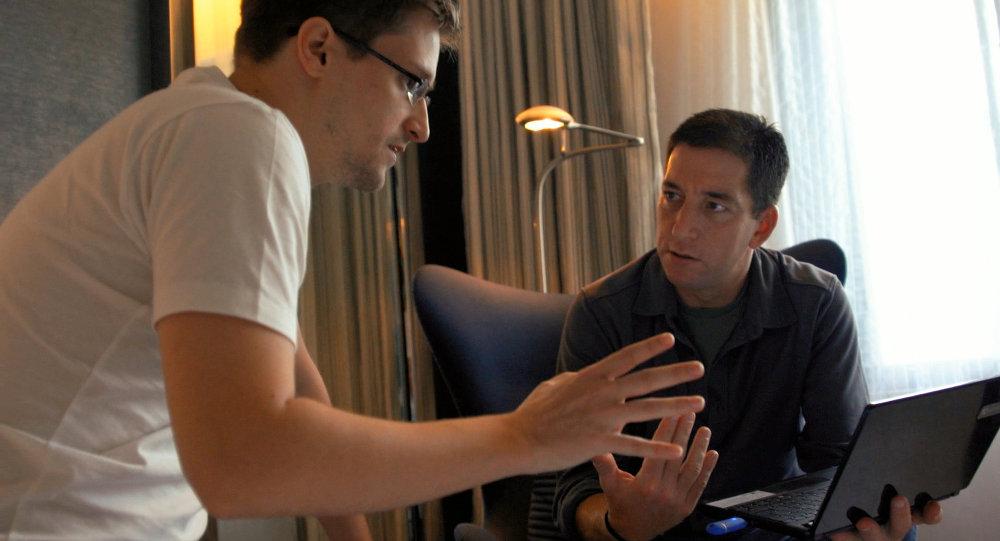 Whistleblower-in-exile Edward Snowden and journalist Glenn Greenwald