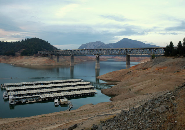 House boats are docked at Lake Shasta's Bay Bridge resort near Redding, California.