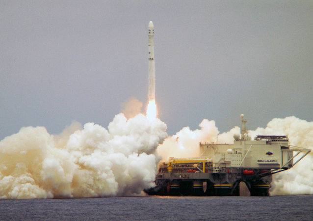 FILE - This photo March 19, 2008, provided by the Sea Launch Co. shows a Zenit-3SL rocket carrying a Boeing-built DirecTV 11 satellite launched into orbit from a platform located on the equator in the Pacific Ocean